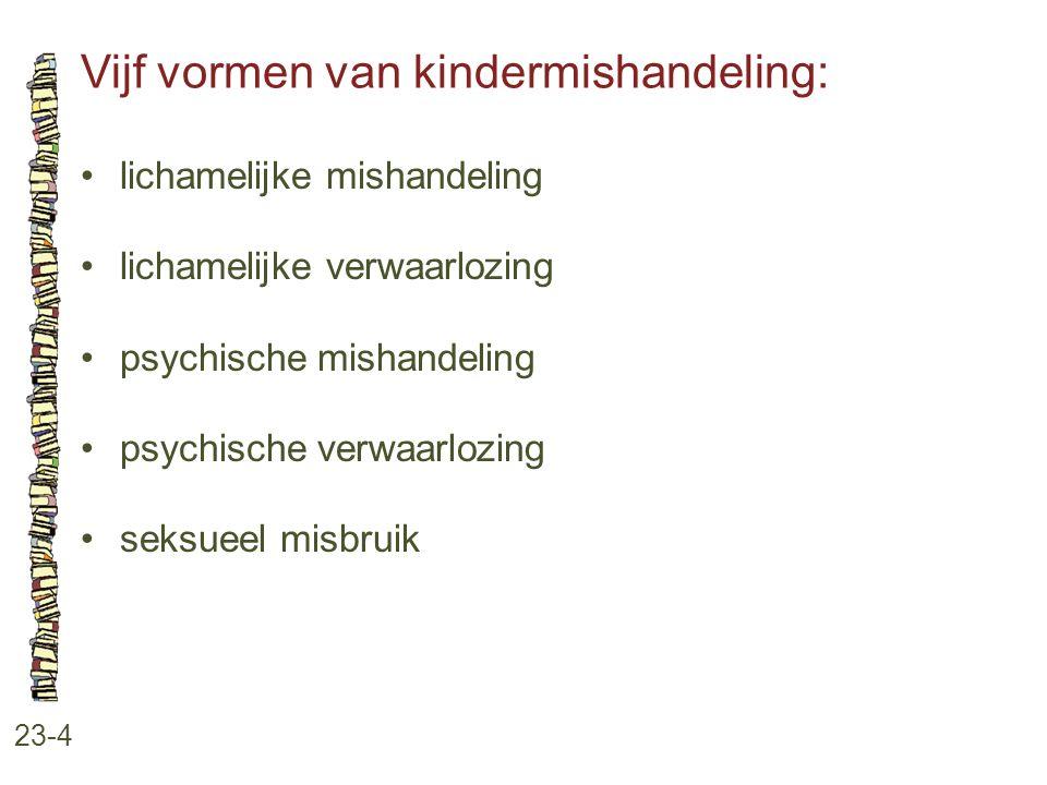 Vijf vormen van kindermishandeling: 23-4 lichamelijke mishandeling lichamelijke verwaarlozing psychische mishandeling psychische verwaarlozing seksuee