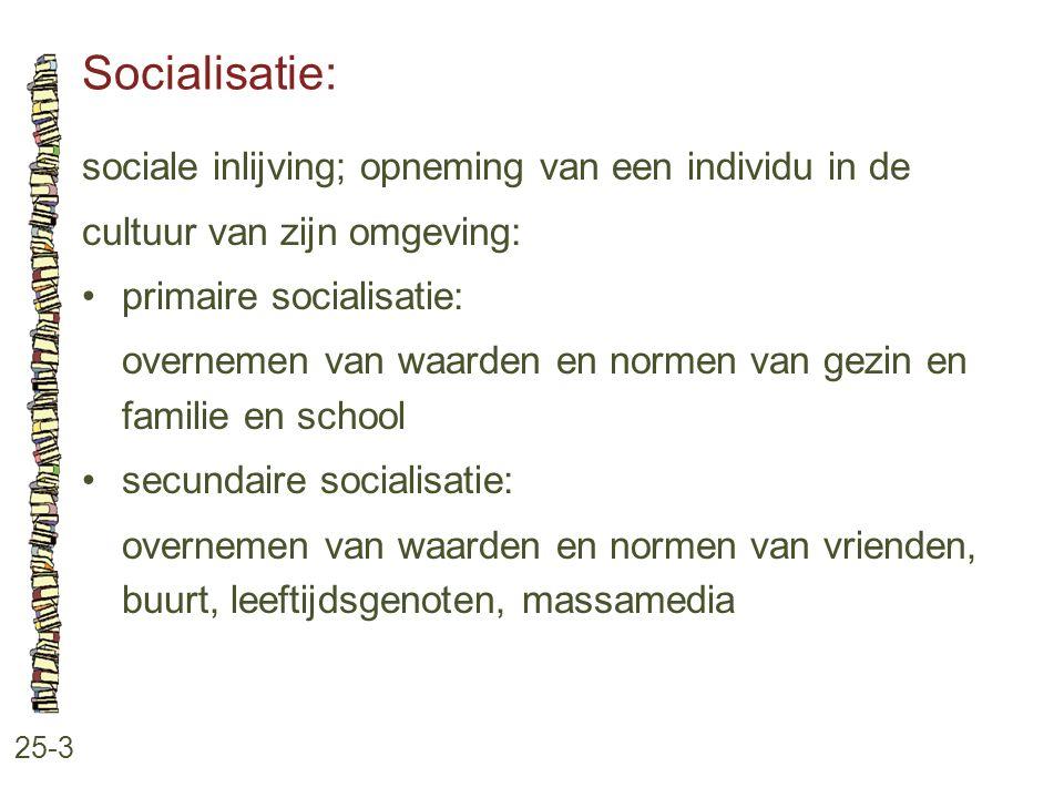 Socialisatie: 25-3 sociale inlijving; opneming van een individu in de cultuur van zijn omgeving: primaire socialisatie: overnemen van waarden en norme