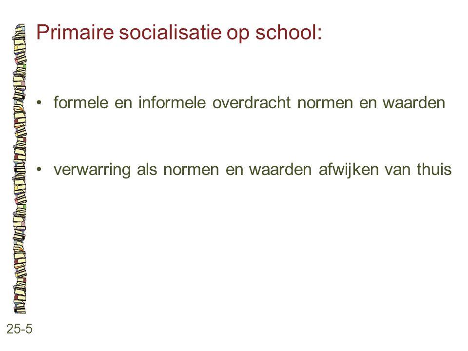 Primaire socialisatie op school: 25-5 formele en informele overdracht normen en waarden verwarring als normen en waarden afwijken van thuis