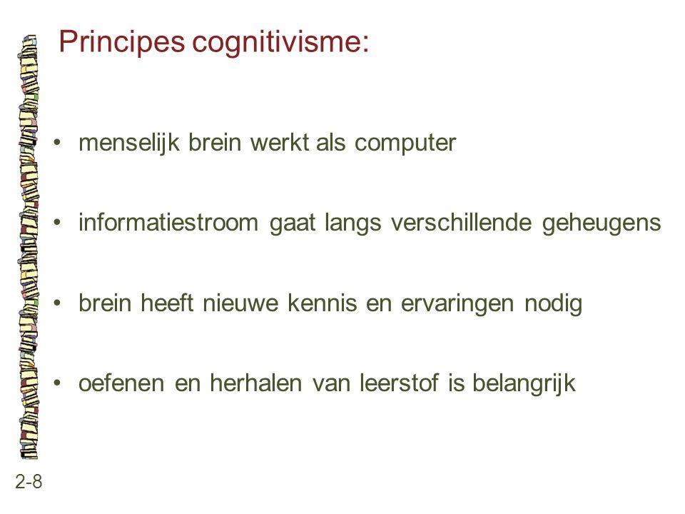 Principes cognitivisme: 2-8 menselijk brein werkt als computer informatiestroom gaat langs verschillende geheugens brein heeft nieuwe kennis en ervari