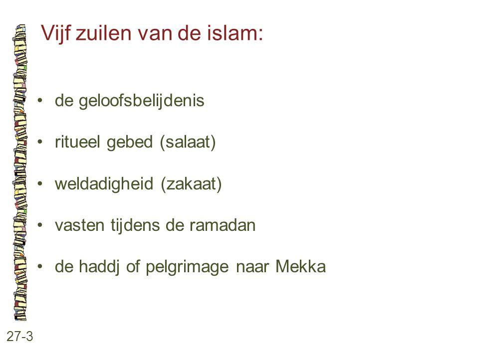 Vijf zuilen van de islam: 27-3 de geloofsbelijdenis ritueel gebed (salaat) weldadigheid (zakaat) vasten tijdens de ramadan de haddj of pelgrimage naar