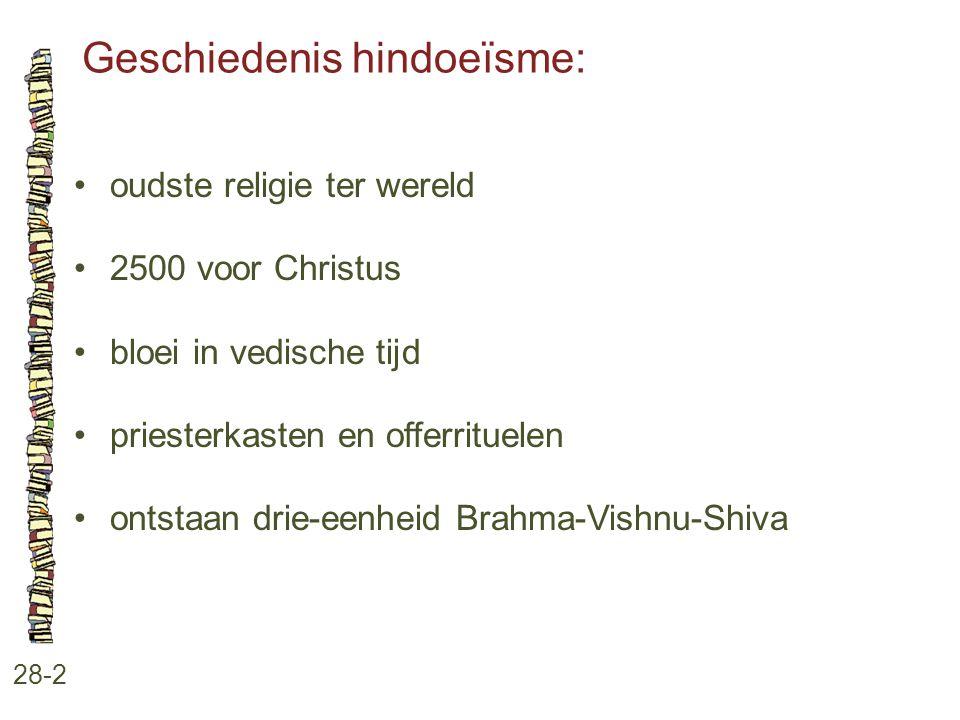 Geschiedenis hindoeïsme: 28-2 oudste religie ter wereld 2500 voor Christus bloei in vedische tijd priesterkasten en offerrituelen ontstaan drie-eenhei