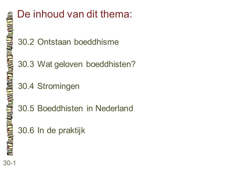 De inhoud van dit thema: 30-1 30.2 Ontstaan boeddhisme 30.3 Wat geloven boeddhisten? 30.4 Stromingen 30.5 Boeddhisten in Nederland 30.6 In de praktijk