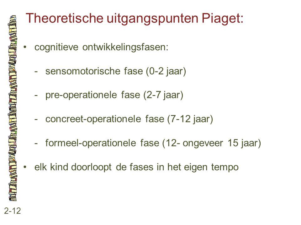 Theoretische uitgangspunten Piaget: 2-12 cognitieve ontwikkelingsfasen: -sensomotorische fase (0-2 jaar) -pre-operationele fase (2-7 jaar) -concreet-o