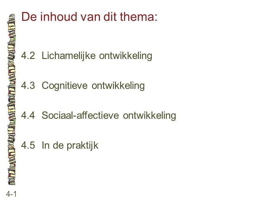 De inhoud van dit thema: 4-1 4.2 Lichamelijke ontwikkeling 4.3 Cognitieve ontwikkeling 4.4 Sociaal-affectieve ontwikkeling 4.5 In de praktijk