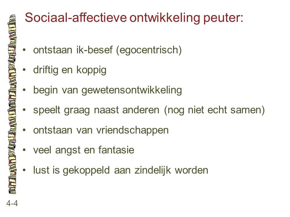 Sociaal-affectieve ontwikkeling peuter: 4-4 ontstaan ik-besef (egocentrisch) driftig en koppig begin van gewetensontwikkeling speelt graag naast ander
