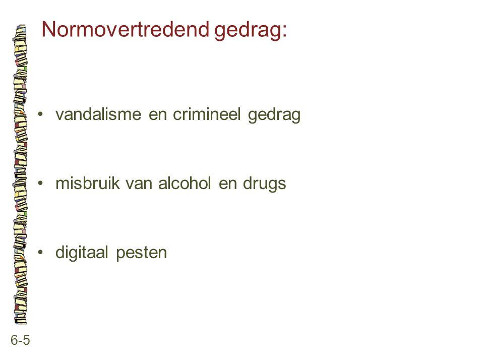 Normovertredend gedrag: 6-5 vandalisme en crimineel gedrag misbruik van alcohol en drugs digitaal pesten