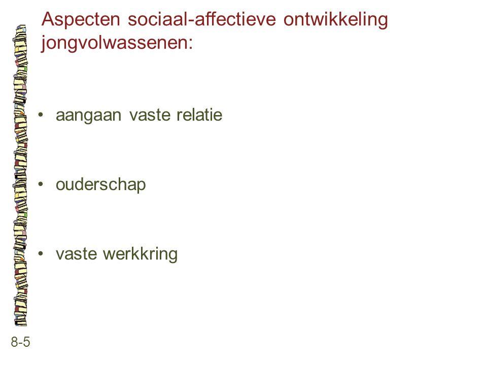 Aspecten sociaal-affectieve ontwikkeling jongvolwassenen: 8-5 aangaan vaste relatie ouderschap vaste werkkring