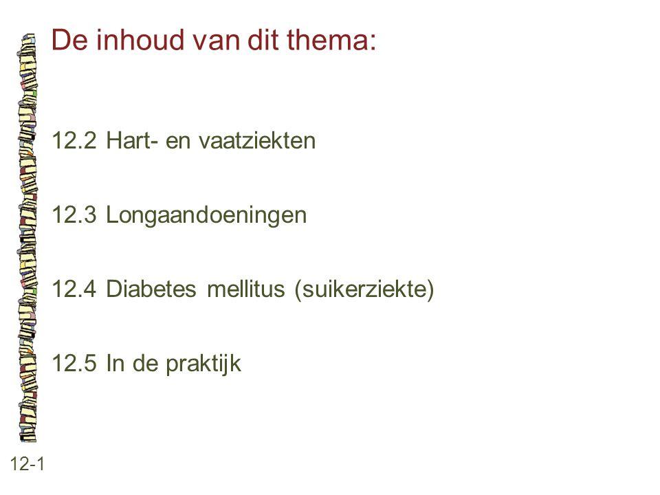 De inhoud van dit thema: 12-1 12.2 Hart- en vaatziekten 12.3 Longaandoeningen 12.4 Diabetes mellitus (suikerziekte) 12.5 In de praktijk