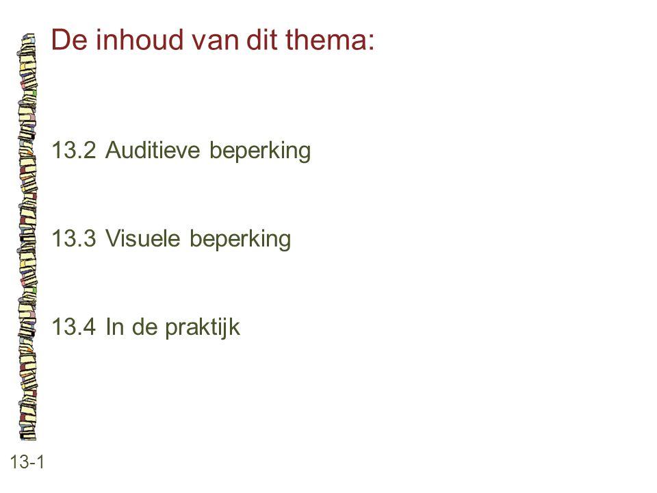 De inhoud van dit thema: 13-1 13.2 Auditieve beperking 13.3 Visuele beperking 13.4 In de praktijk