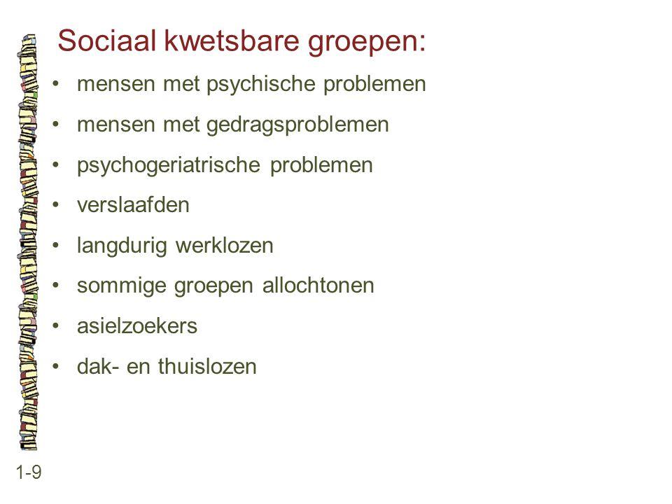 Sociaal kwetsbare groepen: 1-9 mensen met psychische problemen mensen met gedragsproblemen psychogeriatrische problemen verslaafden langdurig werkloze