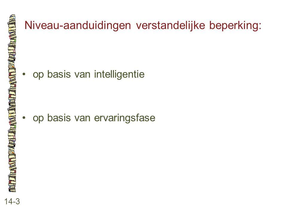 Niveau-aanduidingen verstandelijke beperking: 14-3 op basis van intelligentie op basis van ervaringsfase