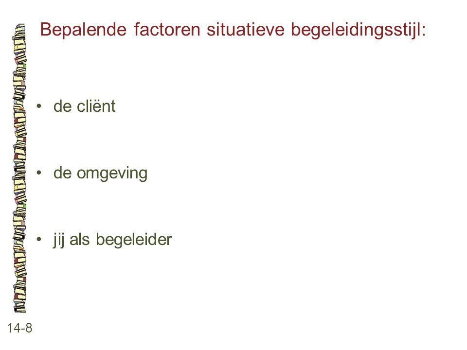 Bepalende factoren situatieve begeleidingsstijl: 14-8 de cliënt de omgeving jij als begeleider
