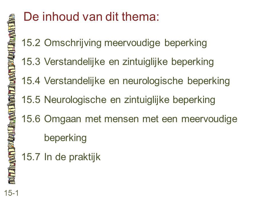 De inhoud van dit thema: 15-1 15.2 Omschrijving meervoudige beperking 15.3 Verstandelijke en zintuiglijke beperking 15.4 Verstandelijke en neurologisc