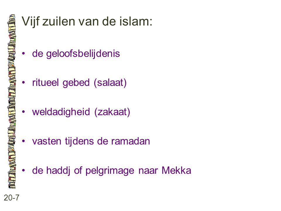 Vijf zuilen van de islam: 20-7 de geloofsbelijdenis ritueel gebed (salaat) weldadigheid (zakaat) vasten tijdens de ramadan de haddj of pelgrimage naar