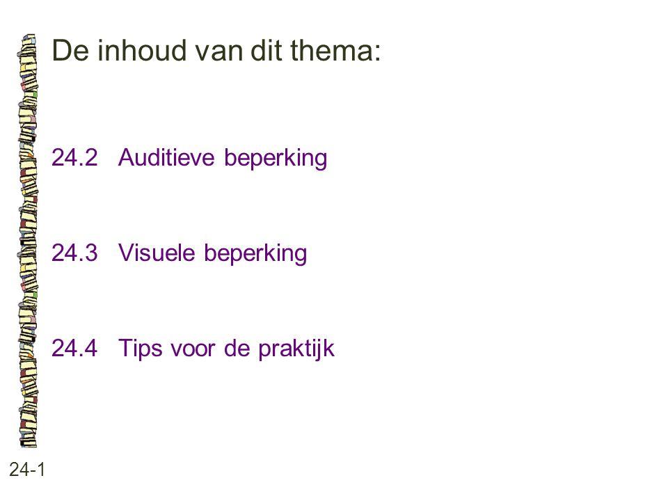 De inhoud van dit thema: 24-1 24.2 Auditieve beperking 24.3 Visuele beperking 24.4 Tips voor de praktijk
