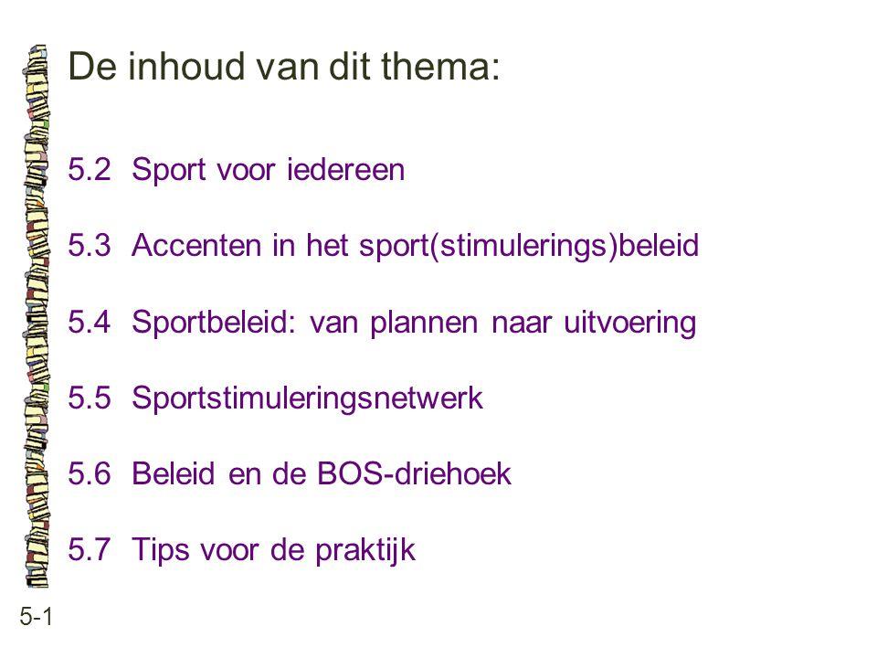 De inhoud van dit thema: 5-1 5.2Sport voor iedereen 5.3 Accenten in het sport(stimulerings)beleid 5.4 Sportbeleid: van plannen naar uitvoering 5.5 Spo