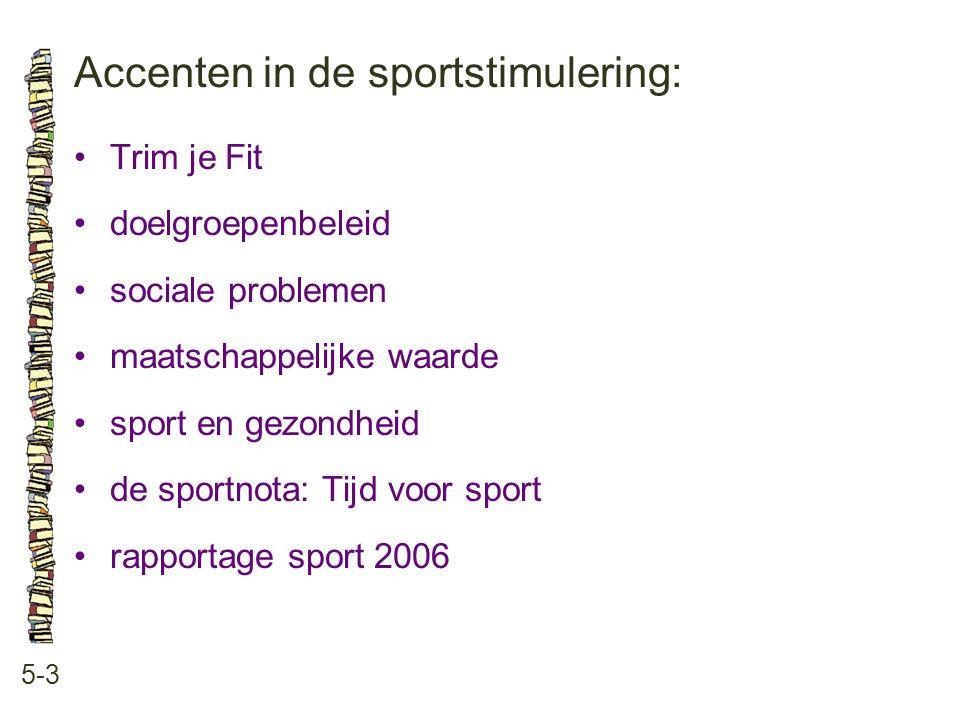 Accenten in de sportstimulering: 5-3 Trim je Fit doelgroepenbeleid sociale problemen maatschappelijke waarde sport en gezondheid de sportnota: Tijd vo