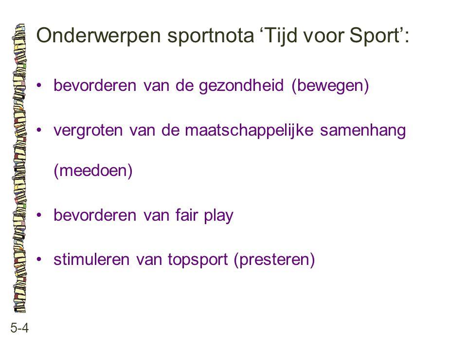 Onderwerpen sportnota 'Tijd voor Sport': 5-4 bevorderen van de gezondheid (bewegen) vergroten van de maatschappelijke samenhang (meedoen) bevorderen v