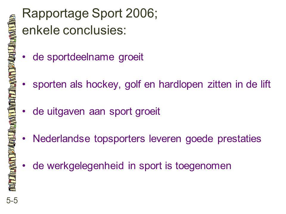 Rapportage Sport 2006; enkele conclusies: 5-5 de sportdeelname groeit sporten als hockey, golf en hardlopen zitten in de lift de uitgaven aan sport gr