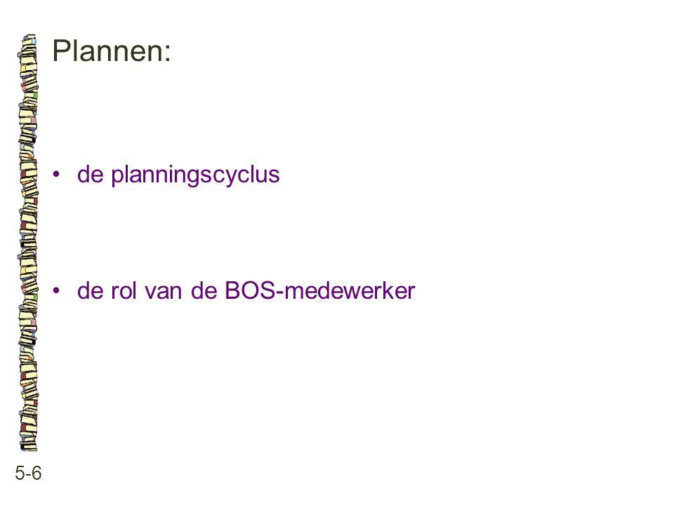 Plannen: 5-6 de planningscyclus de rol van de BOS-medewerker