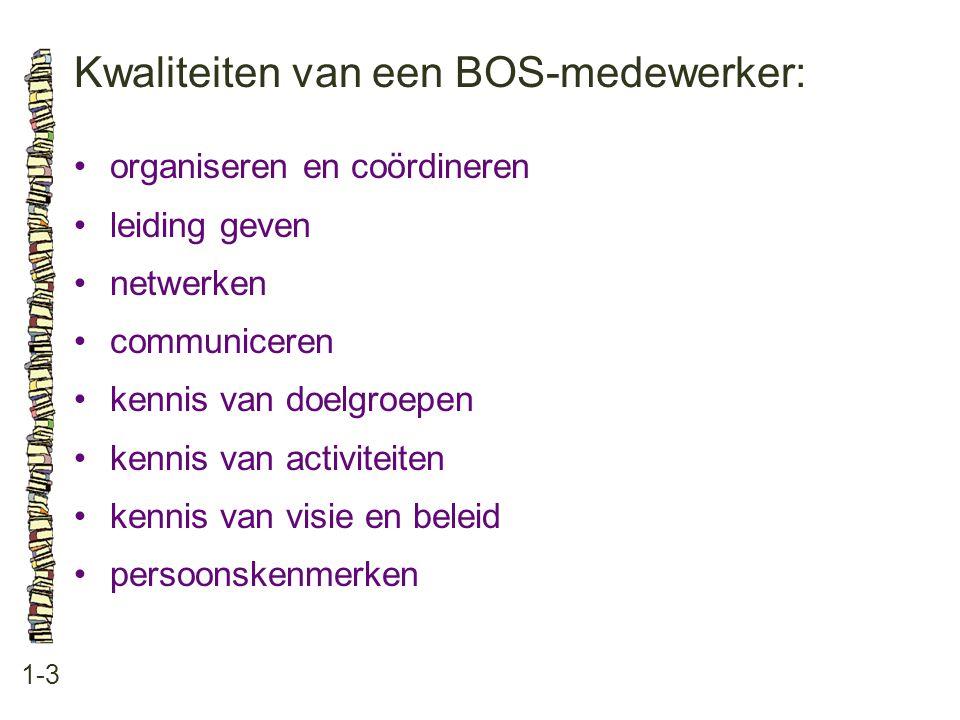 Kwaliteiten van een BOS-medewerker: 1-3 organiseren en coördineren leiding geven netwerken communiceren kennis van doelgroepen kennis van activiteiten