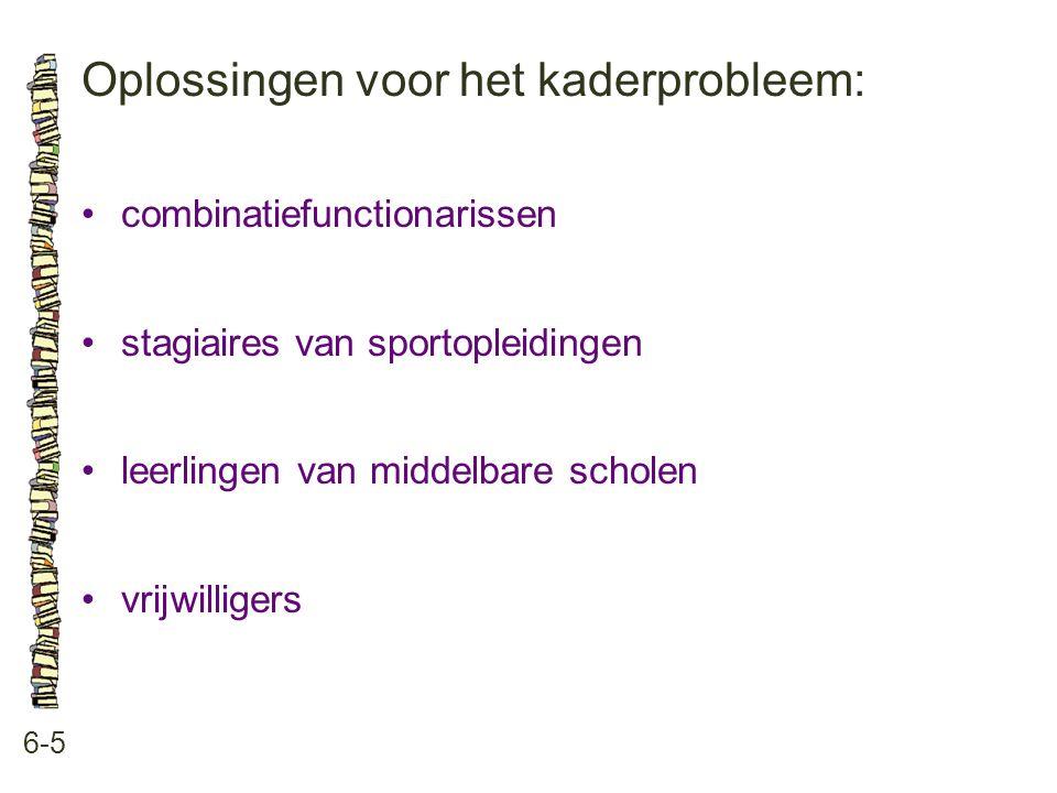 Oplossingen voor het kaderprobleem: 6-5 combinatiefunctionarissen stagiaires van sportopleidingen leerlingen van middelbare scholen vrijwilligers