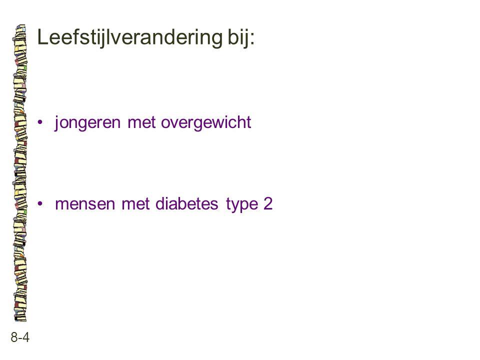 Leefstijlverandering bij: 8-4 jongeren met overgewicht mensen met diabetes type 2
