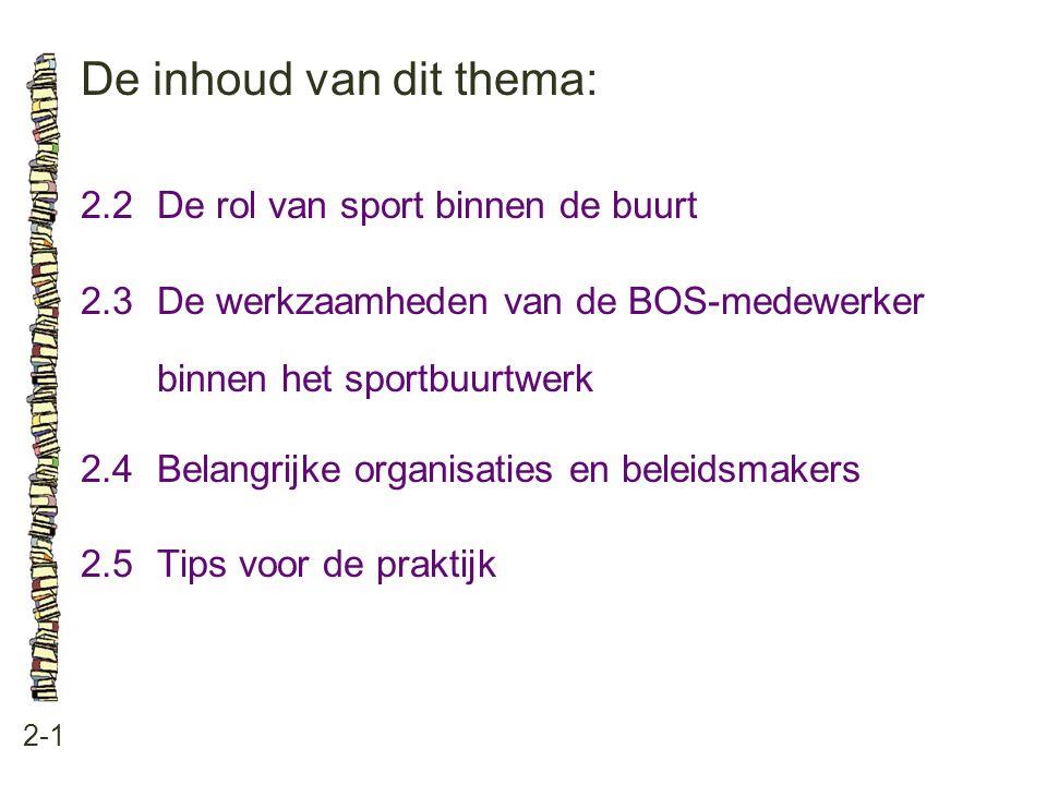 De inhoud van dit thema: 2-1 2.2De rol van sport binnen de buurt 2.3 De werkzaamheden van de BOS-medewerker binnen het sportbuurtwerk 2.4 Belangrijke