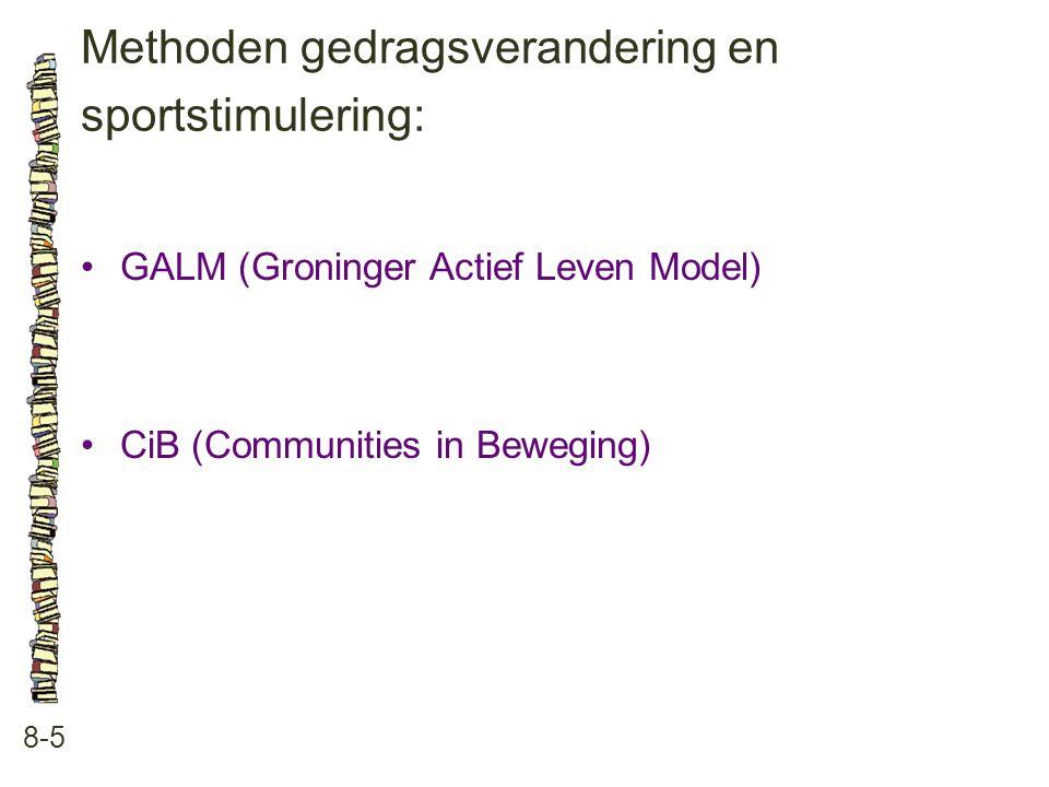 Methoden gedragsverandering en sportstimulering: 8-5 GALM (Groninger Actief Leven Model) CiB (Communities in Beweging)