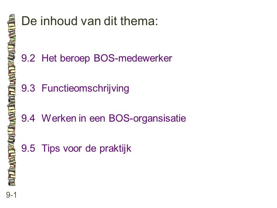 De inhoud van dit thema: 9-1 9.2Het beroep BOS-medewerker 9.3 Functieomschrijving 9.4 Werken in een BOS-organsisatie 9.5 Tips voor de praktijk