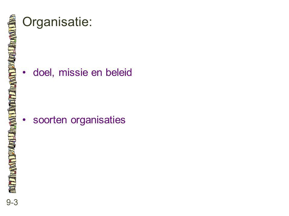 Organisatie: 9-3 doel, missie en beleid soorten organisaties