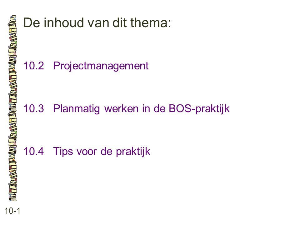 De inhoud van dit thema: 10-1 10.2 Projectmanagement 10.3 Planmatig werken in de BOS-praktijk 10.4 Tips voor de praktijk