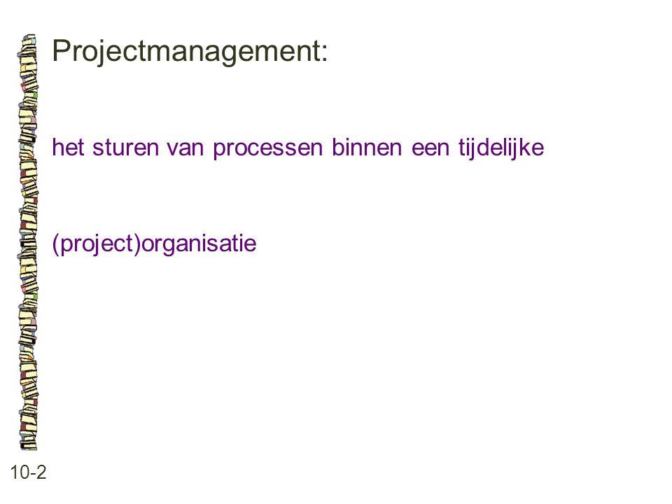 Projectmanagement: 10-2 het sturen van processen binnen een tijdelijke (project)organisatie