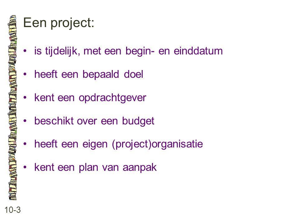 Een project: 10-3 is tijdelijk, met een begin- en einddatum heeft een bepaald doel kent een opdrachtgever beschikt over een budget heeft een eigen (pr