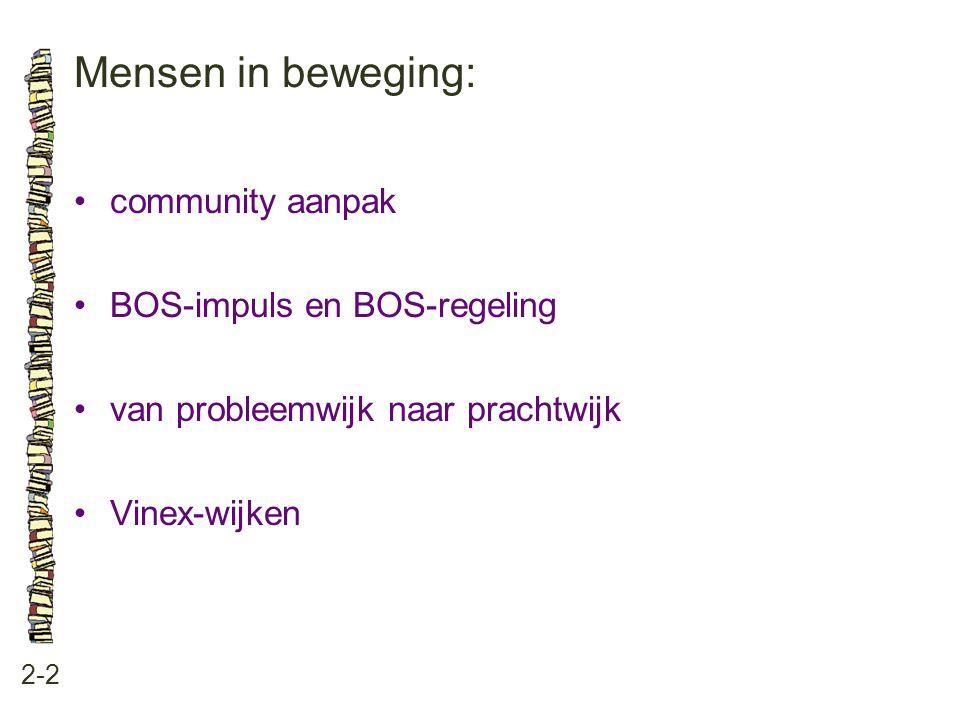 Mensen in beweging: 2-2 community aanpak BOS-impuls en BOS-regeling van probleemwijk naar prachtwijk Vinex-wijken