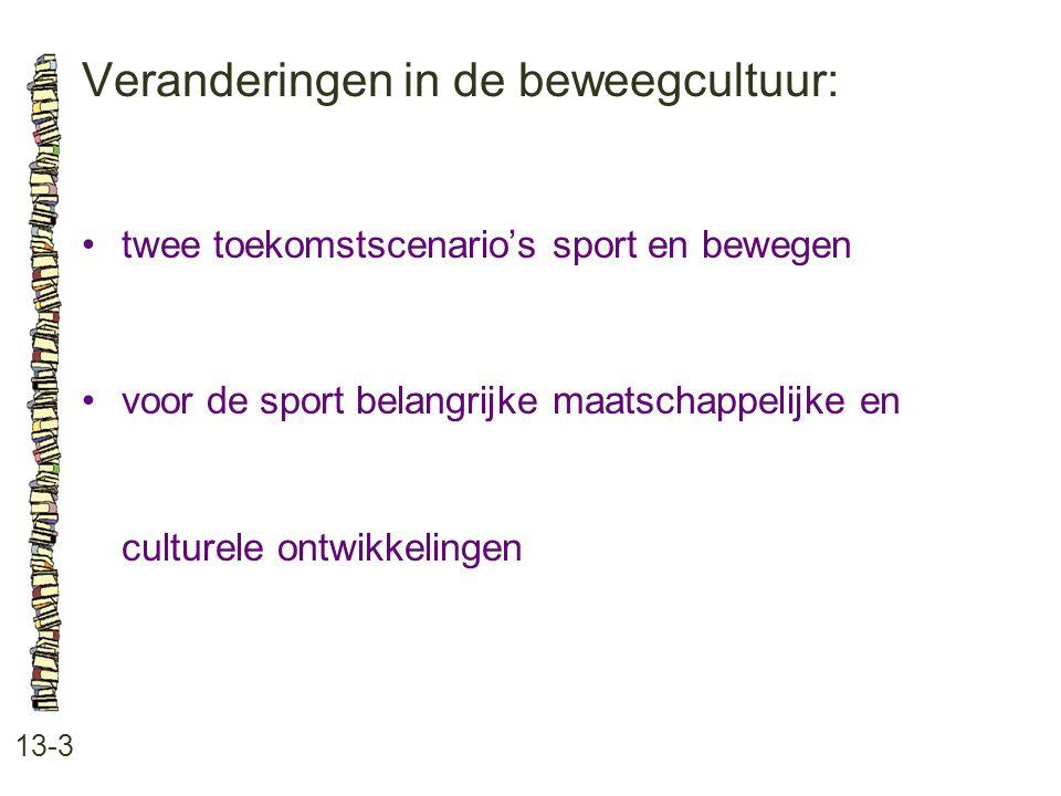 Veranderingen in de beweegcultuur: 13-3 twee toekomstscenario's sport en bewegen voor de sport belangrijke maatschappelijke en culturele ontwikkelinge