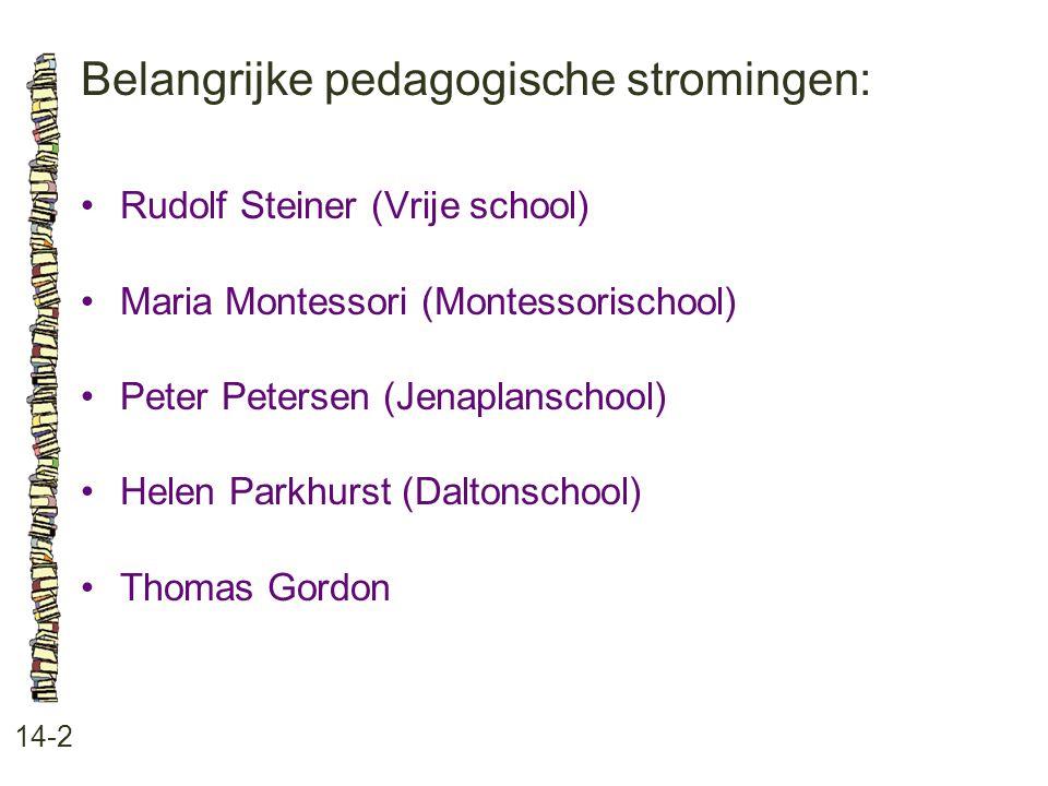 Belangrijke pedagogische stromingen: 14-2 Rudolf Steiner (Vrije school) Maria Montessori (Montessorischool) Peter Petersen (Jenaplanschool) Helen Park