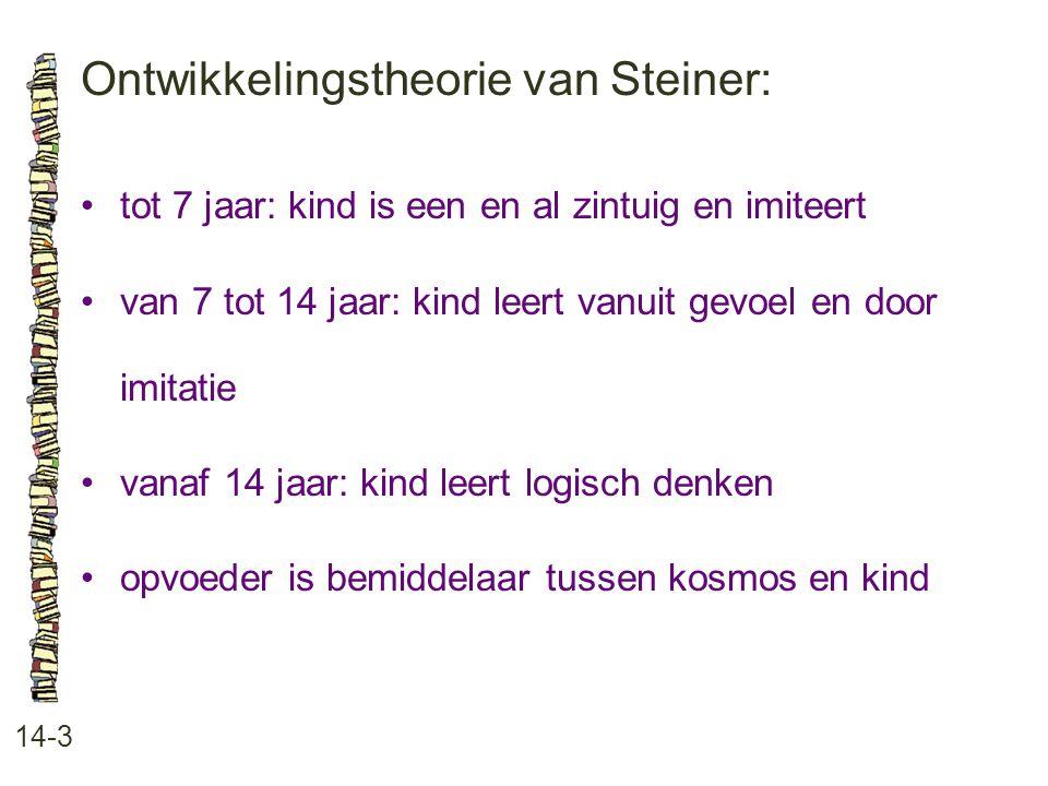 Ontwikkelingstheorie van Steiner: 14-3 tot 7 jaar: kind is een en al zintuig en imiteert van 7 tot 14 jaar: kind leert vanuit gevoel en door imitatie