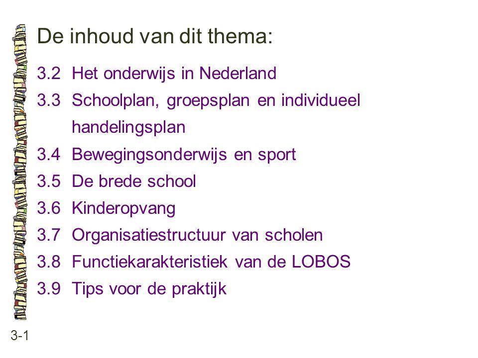 De inhoud van dit thema: 3-1 3.2Het onderwijs in Nederland 3.3 Schoolplan, groepsplan en individueel handelingsplan 3.4 Bewegingsonderwijs en sport 3.
