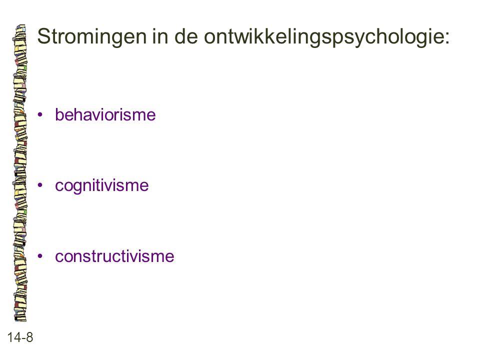 Stromingen in de ontwikkelingspsychologie: 14-8 behaviorisme cognitivisme constructivisme