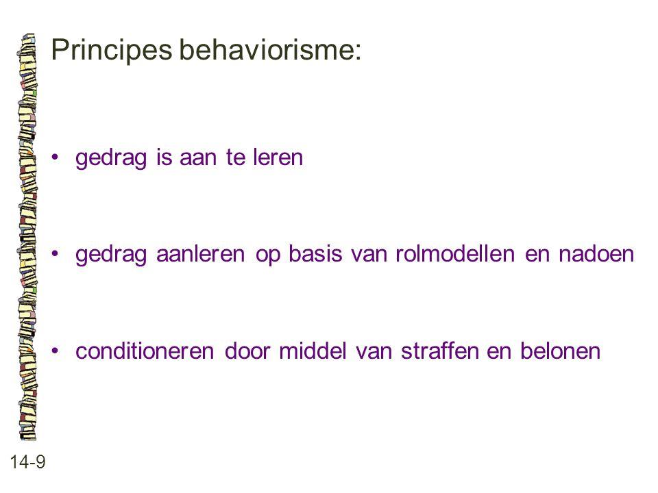 Principes behaviorisme: 14-9 gedrag is aan te leren gedrag aanleren op basis van rolmodellen en nadoen conditioneren door middel van straffen en belon