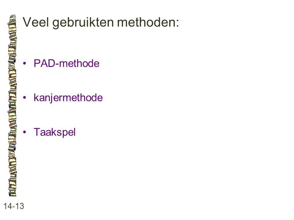 Veel gebruikten methoden: 14-13 PAD-methode kanjermethode Taakspel