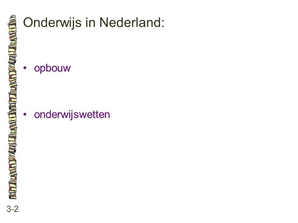 Onderwijs in Nederland: 3-2 opbouw onderwijswetten