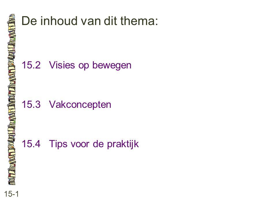 De inhoud van dit thema: 15-1 15.2 Visies op bewegen 15.3 Vakconcepten 15.4 Tips voor de praktijk