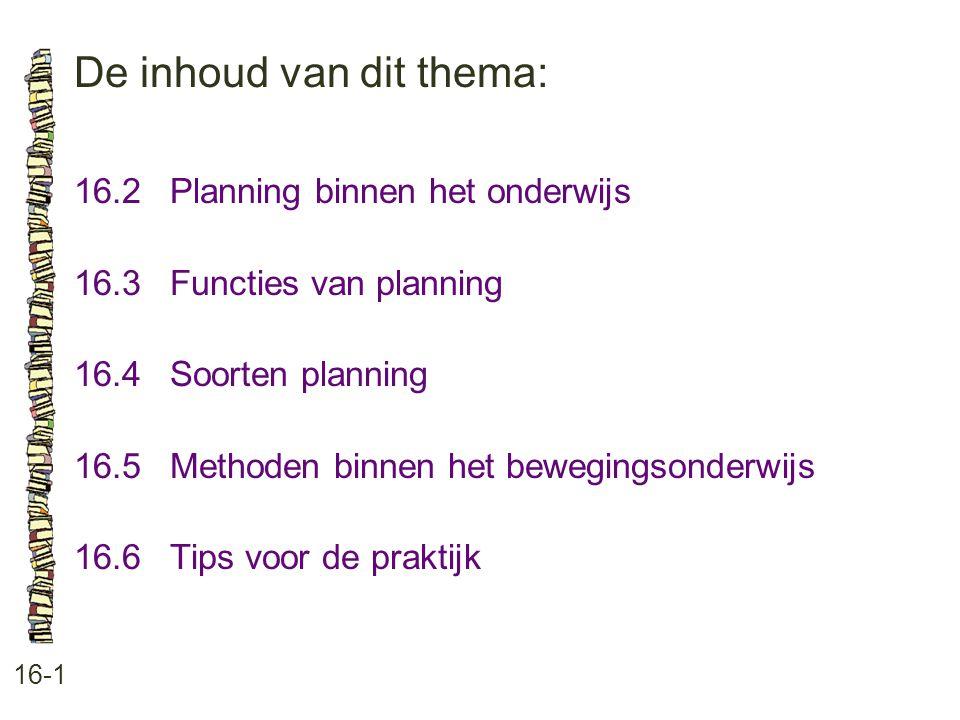 De inhoud van dit thema: 16-1 16.2Planning binnen het onderwijs 16.3 Functies van planning 16.4 Soorten planning 16.5 Methoden binnen het bewegingsond