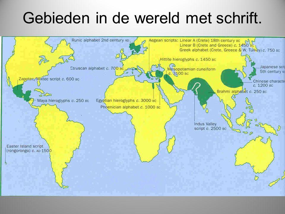 Gebieden in de wereld met schrift.