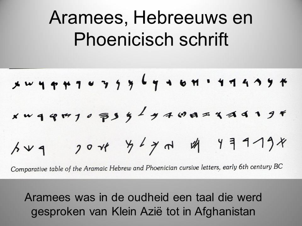 Aramees, Hebreeuws en Phoenicisch schrift Aramees was in de oudheid een taal die werd gesproken van Klein Azië tot in Afghanistan