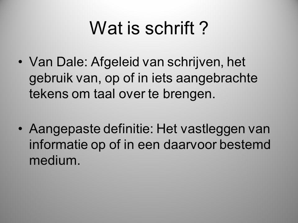 Wat is schrift ? Van Dale: Afgeleid van schrijven, het gebruik van, op of in iets aangebrachte tekens om taal over te brengen. Aangepaste definitie: H
