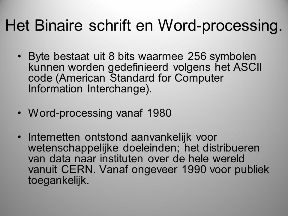 Het Binaire schrift en Word-processing. Byte bestaat uit 8 bits waarmee 256 symbolen kunnen worden gedefinieerd volgens het ASCII code (American Stand